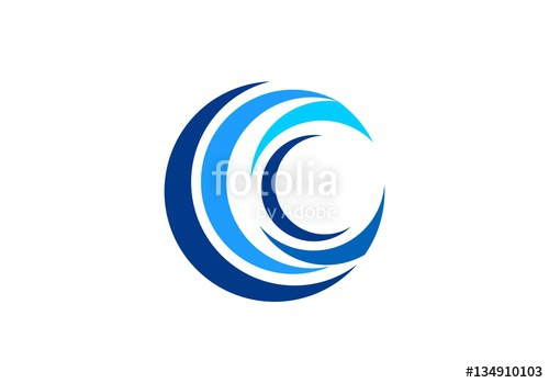 500x349 Circle Blue Wave Logo, Swirl Waves Water Symbol Icon, Letter C