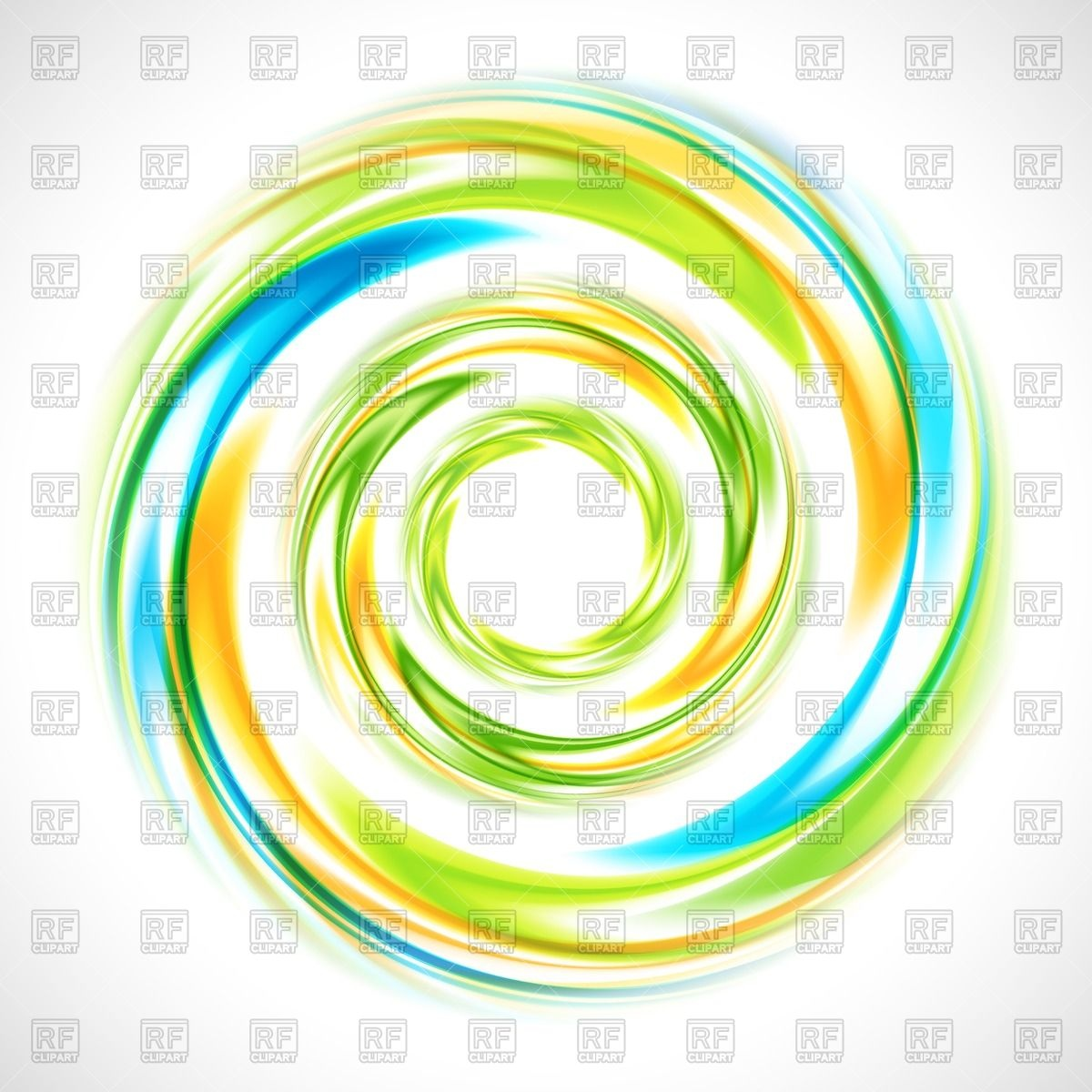 1200x1200 Abstract Green, Blue And Yellow Swirl Circle Royalty Free Vector