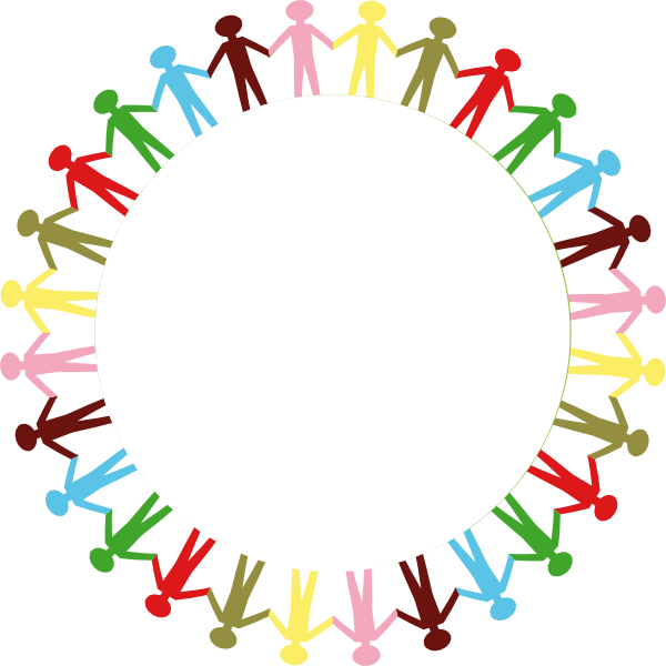 600x600 Circle Holding Hands Stick People Multi Coloured Clip Art