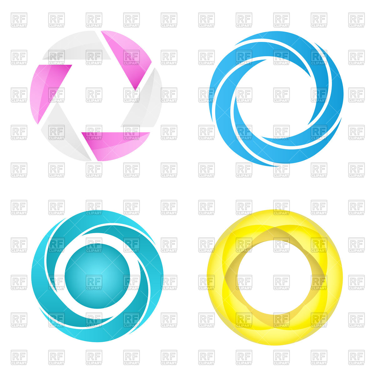 1200x1200 Four Segmented Circles In Different Styles Royalty Free Vector