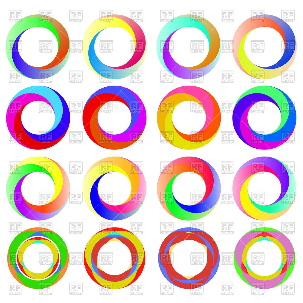 1200x1200 Set of colorful circle icons Royalty Free Vector Clip Art Image