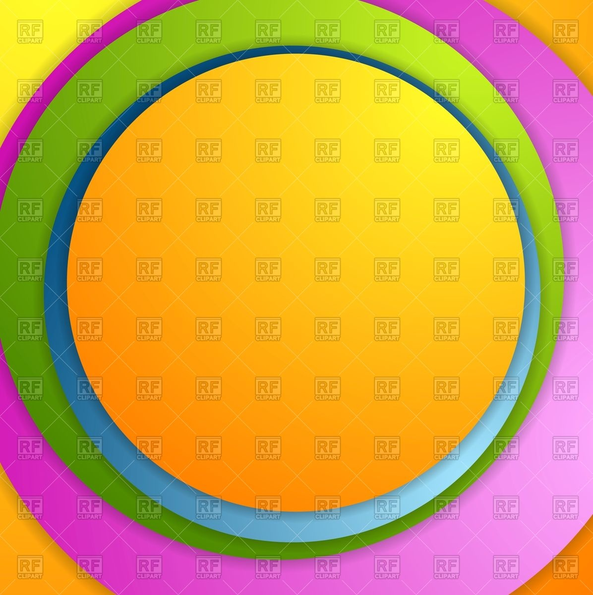 1196x1200 Bright colorful circles background Royalty Free Vector Clip Art