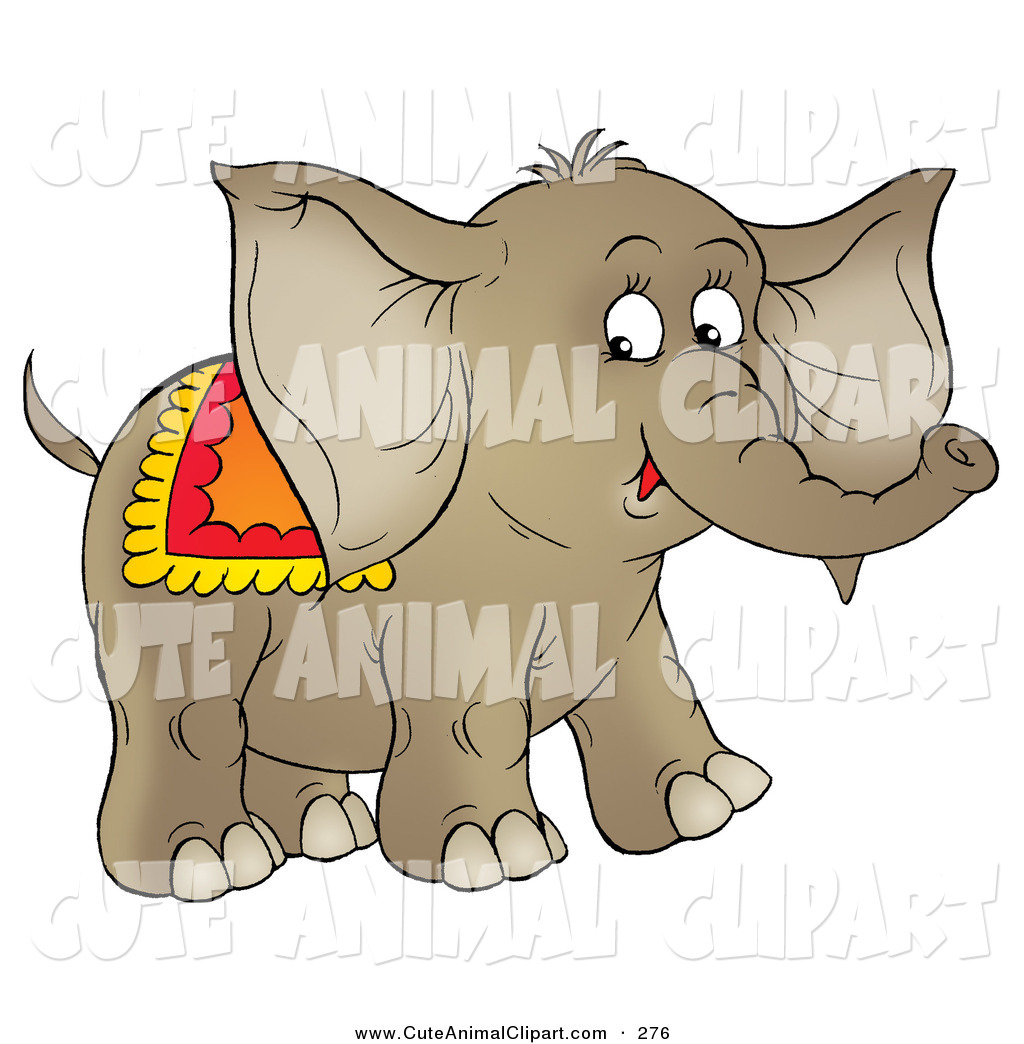 1024x1044 Clip Art Of A Cute Brown Young Circus Elephant With A Blanket
