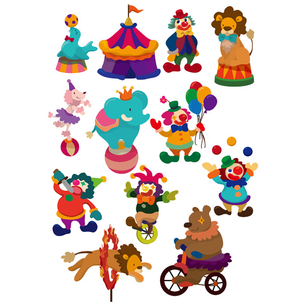 600x600 Cartoon Circus Clown Amp Animal Acts