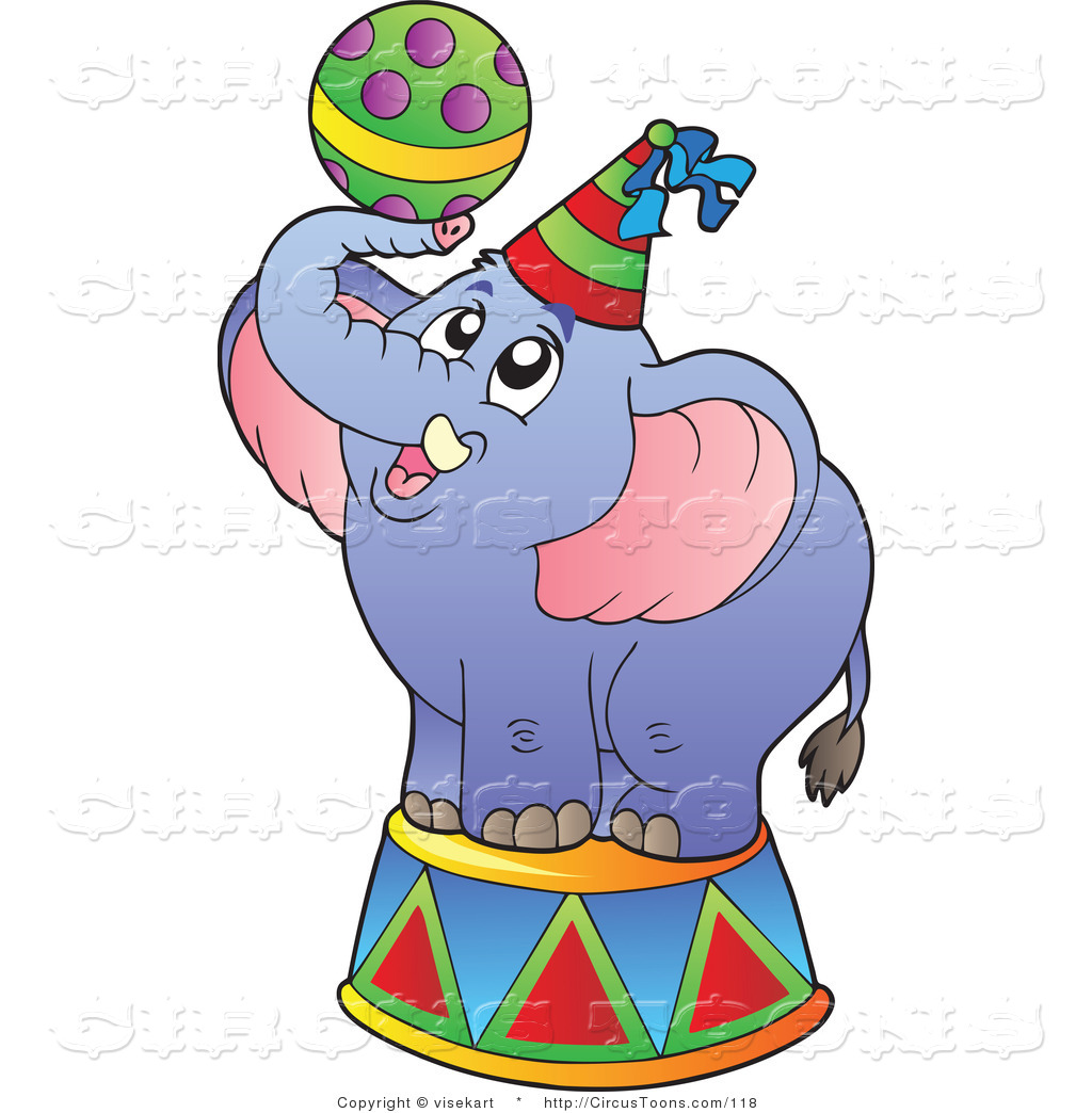 1024x1044 Circus Clipart Of A Blue Circus Elephant With A Ball By Visekart