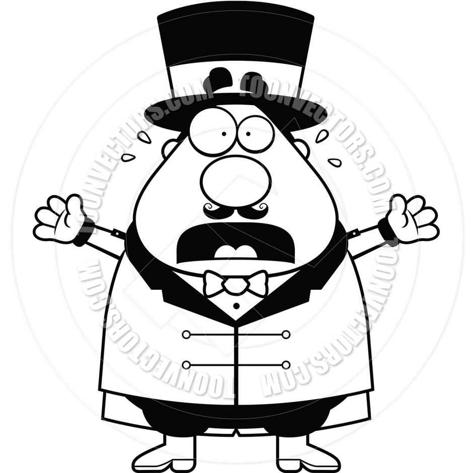 940x940 Cartoon Circus Ringmaster Panic (Black And White Line Art) By Cory