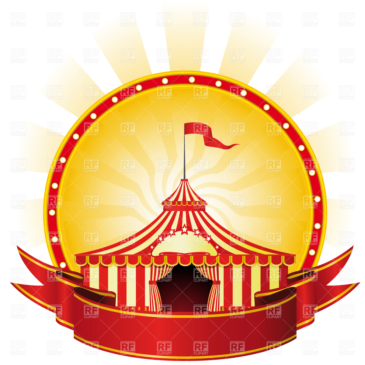 1200x1200 Advertising Poster With Banner And Big Top Circus Royalty Free