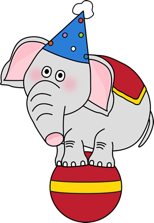 312x450 Circus Elephant On A Ball Clip Art