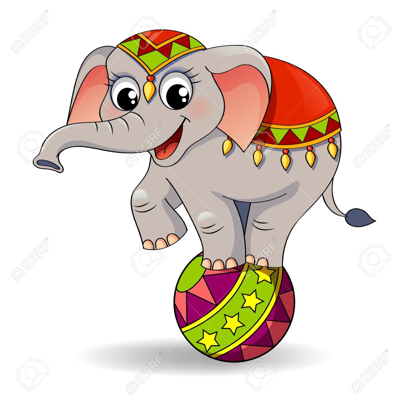 1300x1300 Funny Cartoon Circus Elephant Balancing On Ball Royalty Free