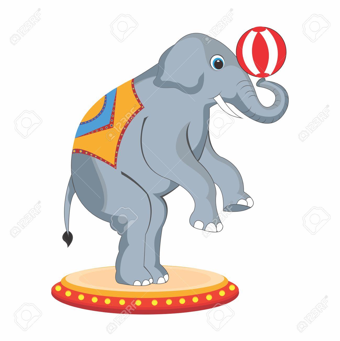 1299x1300 Vector Adorable Cartoon Circus Elephant Back Legs Standing