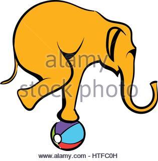 315x320 Funny Elephant Circus Icon Vector Illustration Design Stock Vector