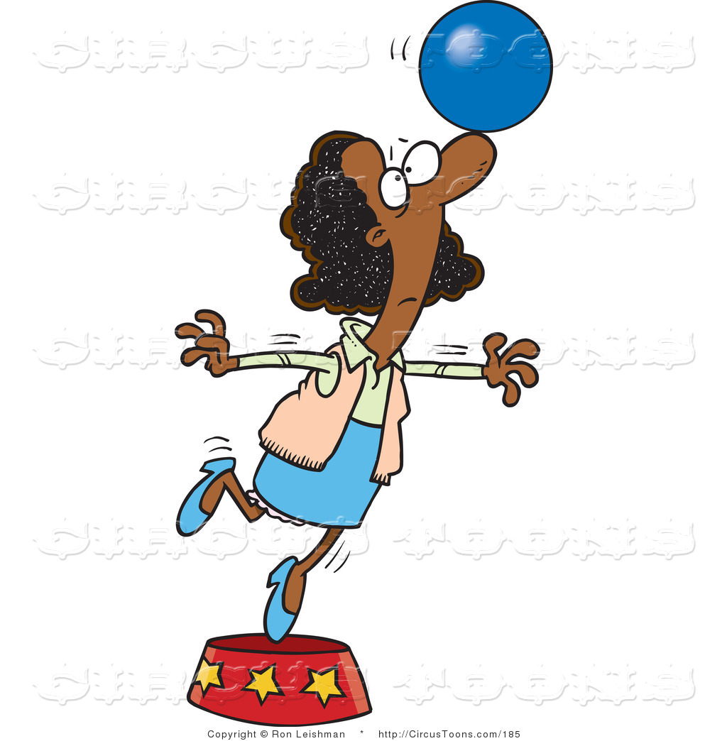 1024x1044 Circus Clipart Of A Cartoon African Businesswoman Balancing A Ball