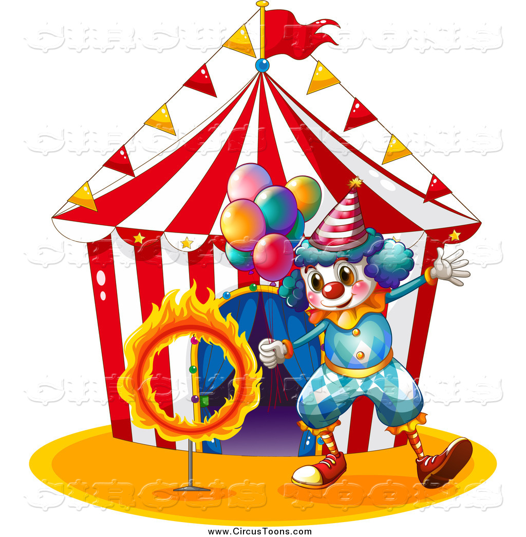 1024x1044 Circus Clipart Of A Clown With Balloons And A Ring Of Fire Outside