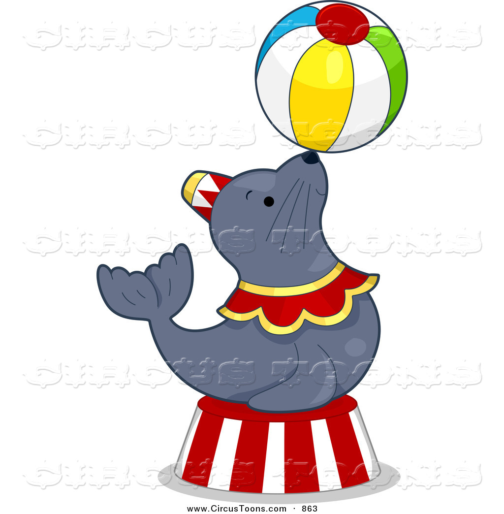 1024x1044 Circus Clipart Of A Talented Seal Balancing A Ball By Bnp Design