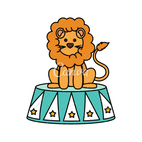 550x550 Circus Lion Cartoon
