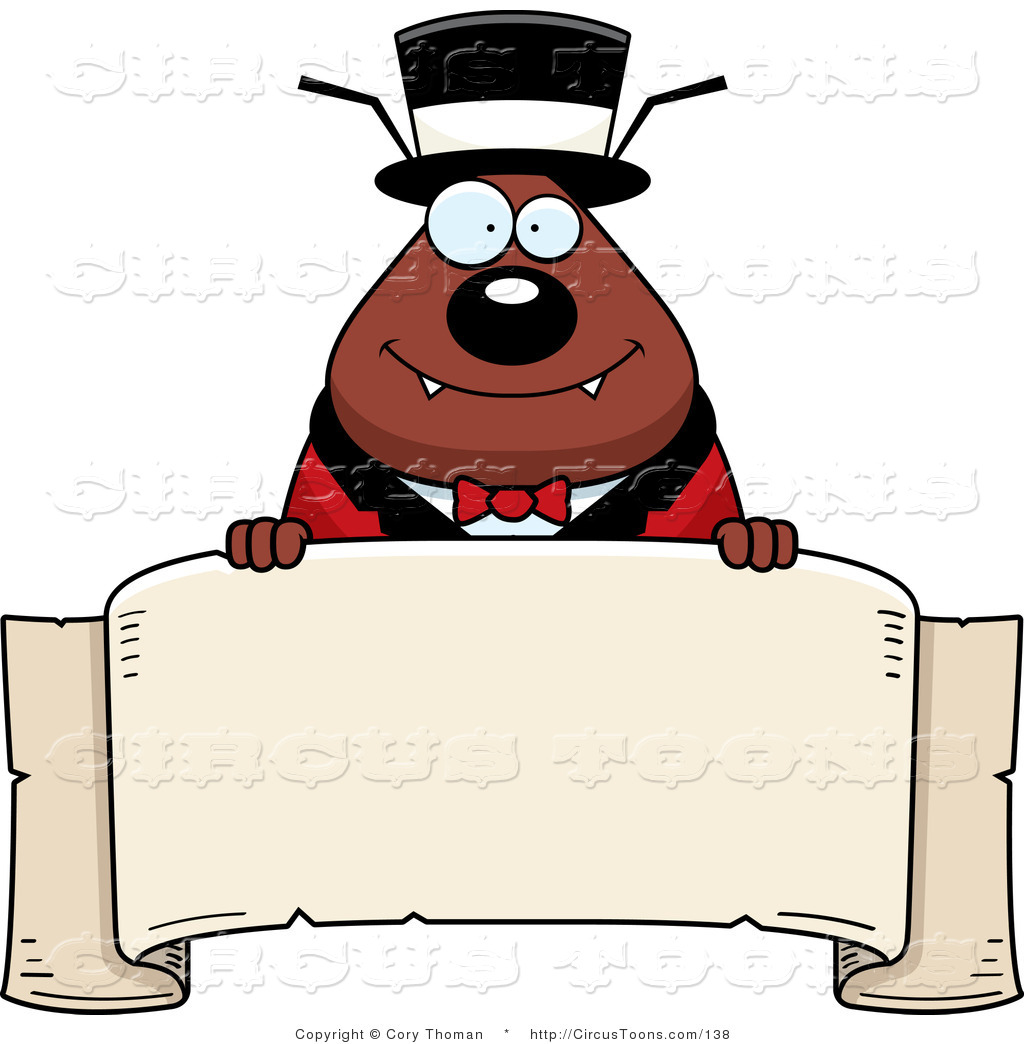 1024x1044 Circus Clipart Of A Circus Ring Master Brown Flea Holding A Banner