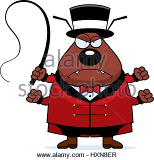 308x320 A Cartoon Illustration Of A Flea Circus Ringmaster With A Confused