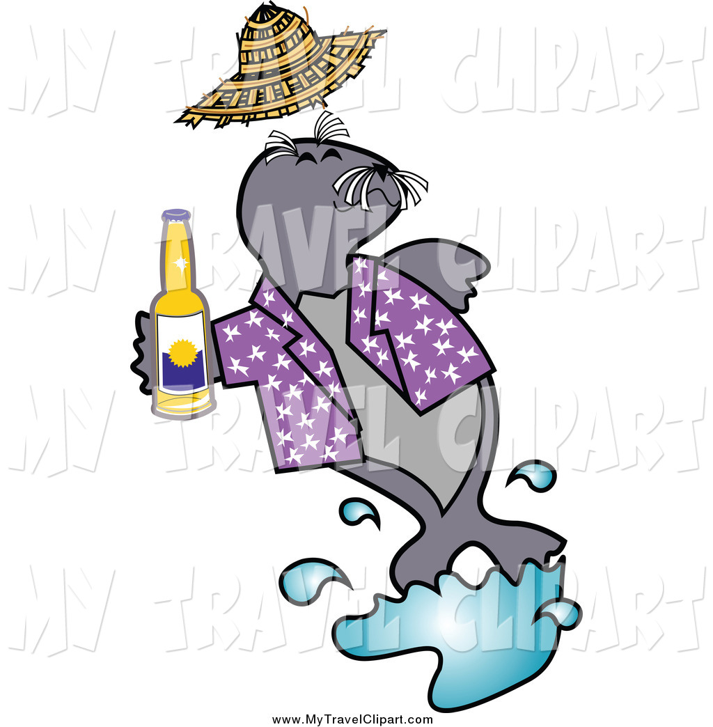1024x1044 Clipart Of A Happy Seal Drinking Beer By Andy Nortnik