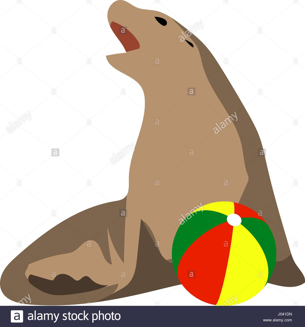 1295x1390 Illustration Of Circus Seal Playing A Ball Stock Vector Art