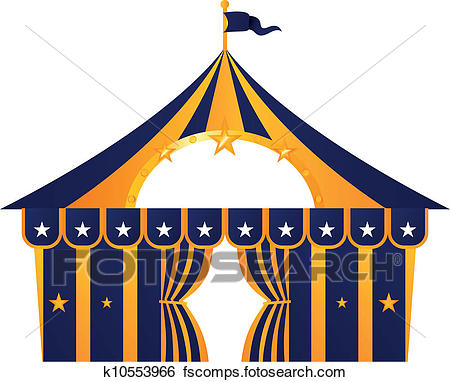 450x382 Clip Art Of Circus Blue Tent Isolated On White K10553966