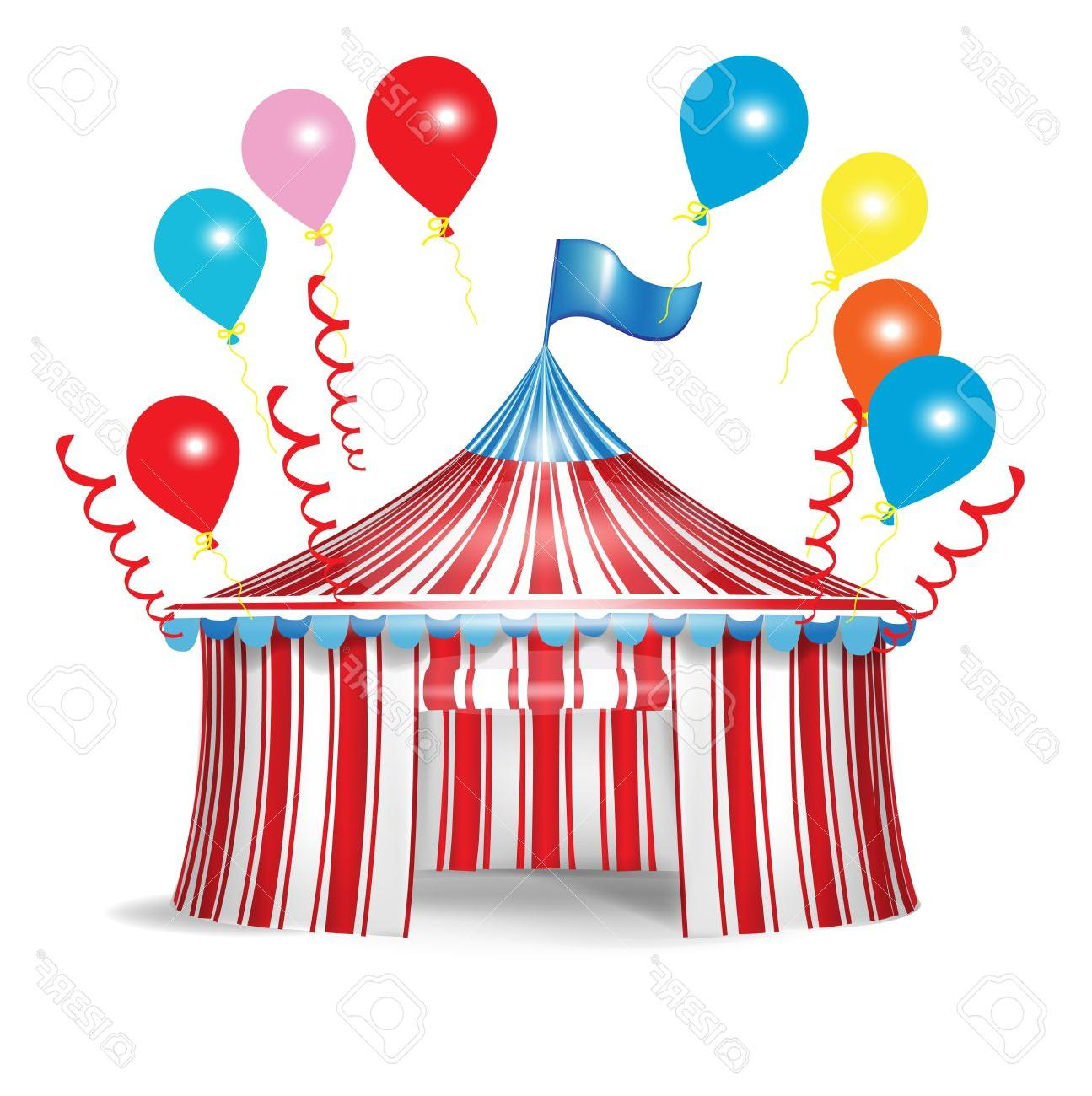 1295x1300 Best Free Circus Tent With Celebration Balloons Isolated Stock