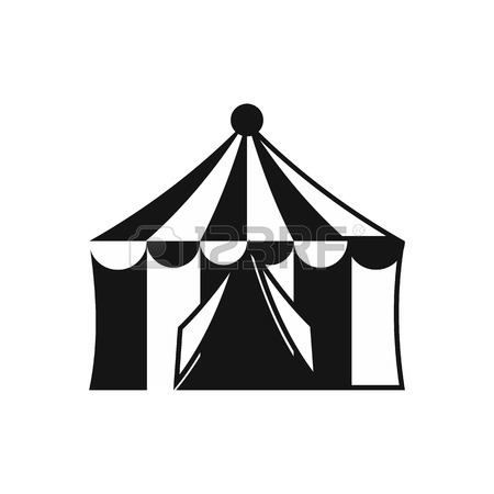 450x450 Circus Tent Icon. Gray Monochrome Illustration Of Circus Tent