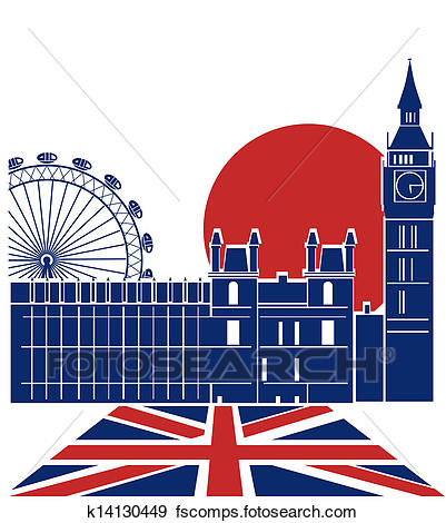 401x470 Clip Art Of London Landmark.vector Background With England Flag