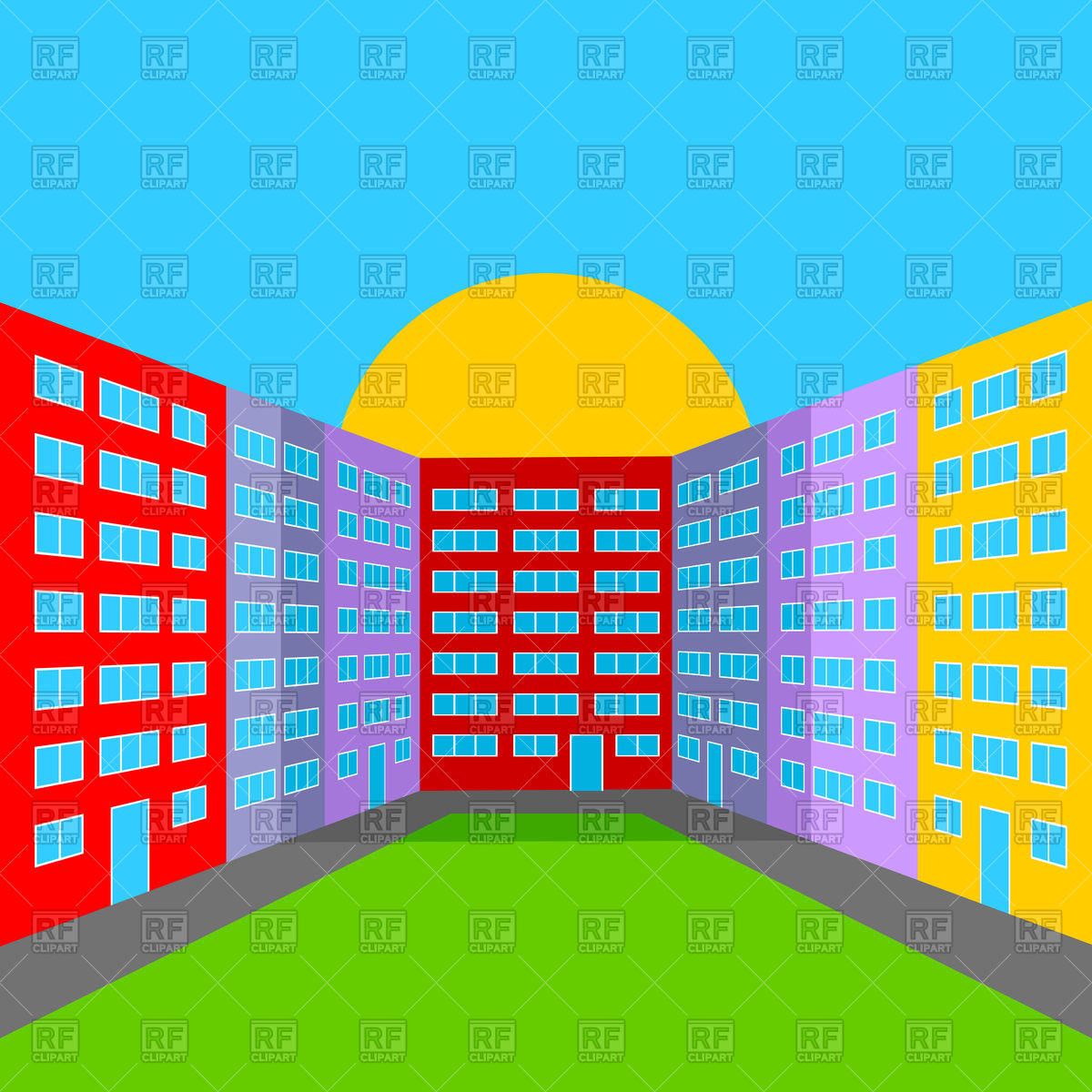 1200x1200 City Yard In The Morning Royalty Free Vector Clip Art Image