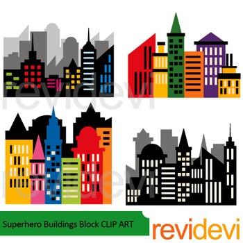 350x350 Superhero Buildings Block Clip Art Classroom Projects, Craft