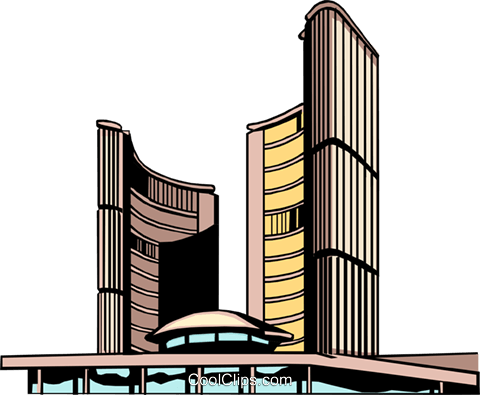480x395 Toronto City Hall Royalty Free Vector Clip Art Illustration