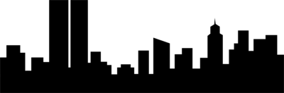400x132 City Skyline Clipart Black And White