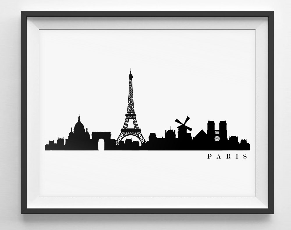 1000x790 Paris Skyline Black And White Silhouette