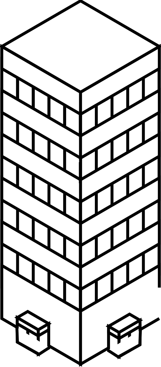 555x1260 Clip Art Iso City Tower 1 Black White