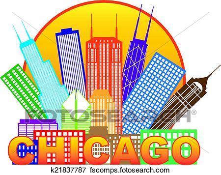 450x356 Clip Art Of Chicago City Skyline Color In Circle Illustration