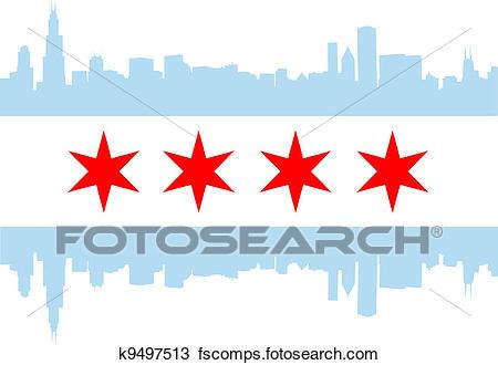 450x330 Clipart Of Chicago Flag K9497513
