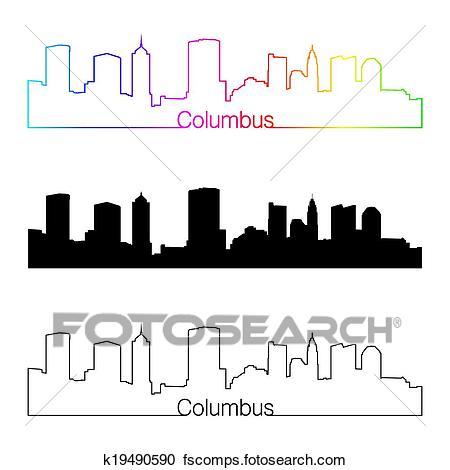450x470 Clipart Of Columbus Skyline Linear Style With Rainbow K19490590