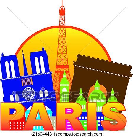 450x462 Clipart Of Paris City Skyline Silhouette Circle Color Illustration