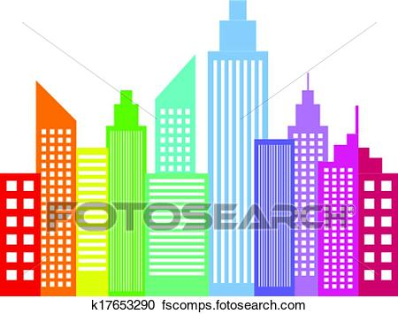 450x355 Clipart Of Rainbow Colored Modern City K17653290