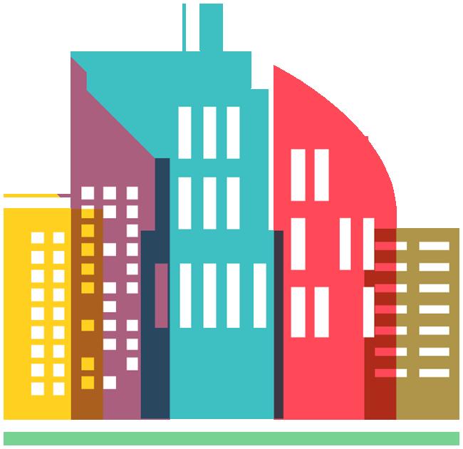 650x630 Colorful City Skyline Icon 1designshop