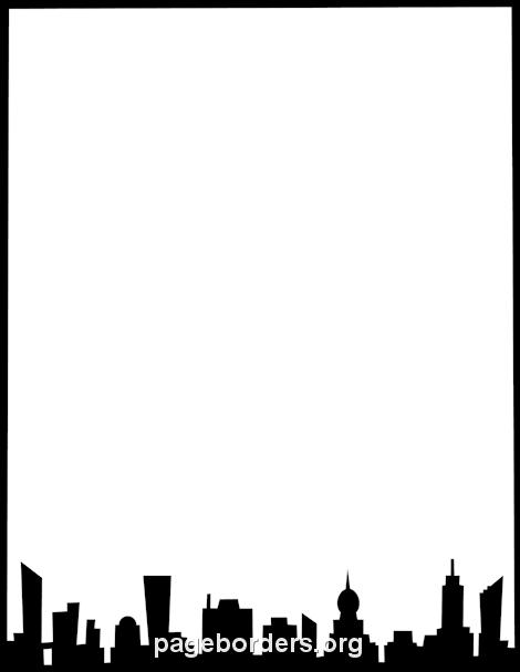 470x608 Printable City Skyline Border. Use The Border In Microsoft Word