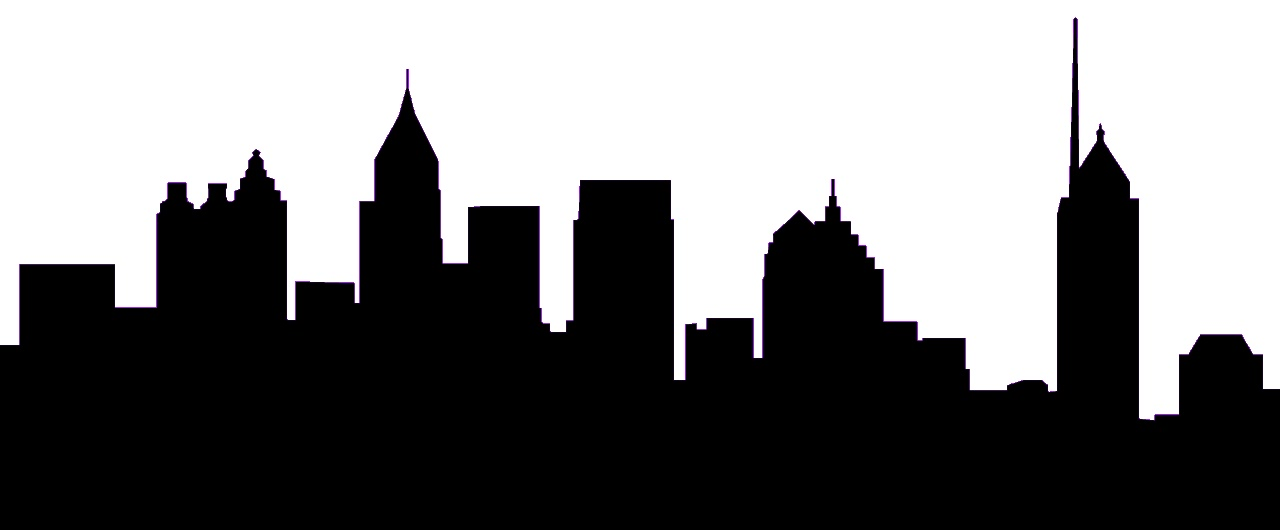 1280x530 City clipart silhouette art