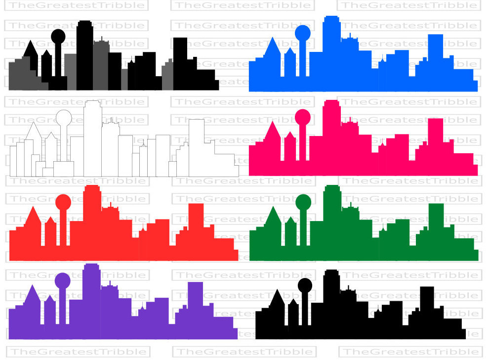990x732 Dallas City Skyline Silhouette SVG Vector Graphic Clip Art [Color