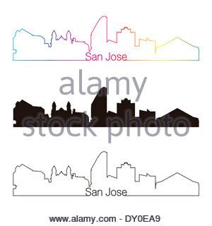 300x320 San Jose City skyline black and white silhouette. Vector Stock