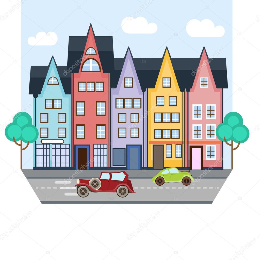 1024x1024 City Street With Colorful Houses And Two Cars Stock Vector