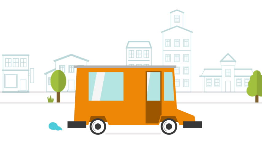852x480 Food Delivery Truck Animation On City Street Stock Footage Video