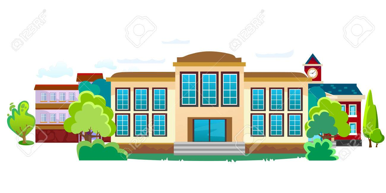 1300x650 Modern School Buildings Exterior, Student City Concept, Elementary