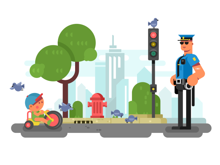 700x525 Police Officer On The City Street Flat Vector Illustration Flat