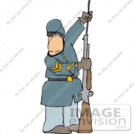 450x450 American Civil War Soldier Preparing His Rifle For Battle Clipart
