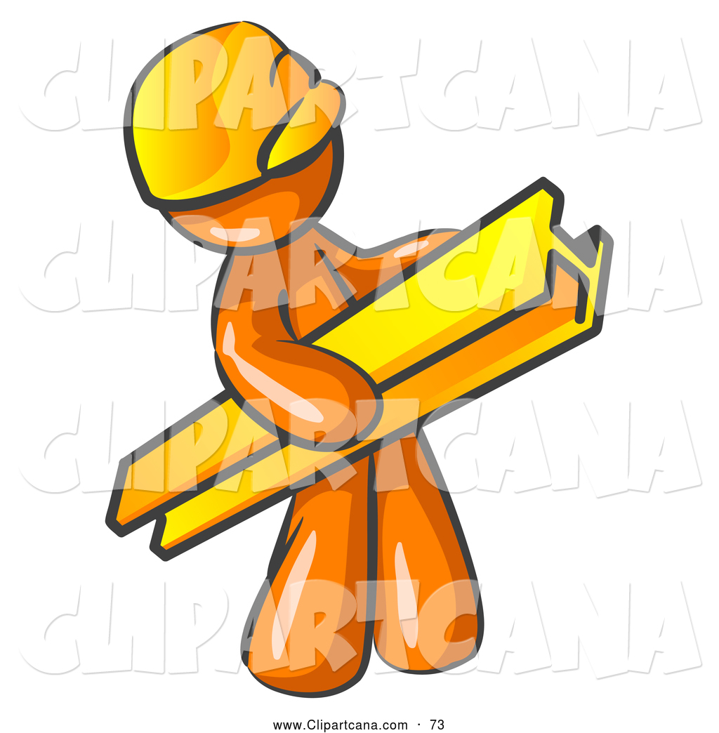 1024x1044 Vector Clip Art Of A Shiny Orange Man Construction Worker Wearing