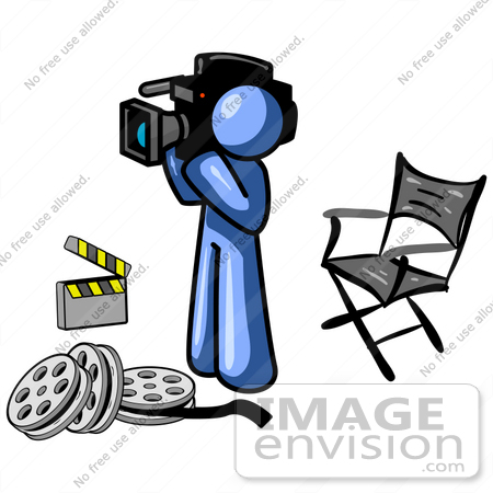 450x450 Cliprt Graphic Of Blue Guy Character With Film Reels,
